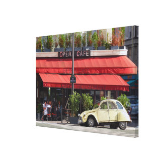Sidewalk Café and Old Car Paris Canvas Print