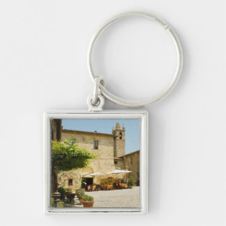 Sidewalk cafe beside a church, Romanesque Silver-Colored Square Keychain