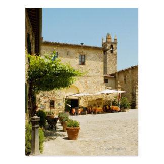 Sidewalk cafe beside a church, Romanesque Postcard