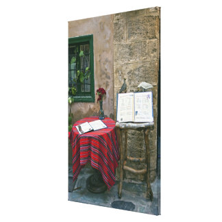 Sidewalk cafe, Chania, Crete, Greece Gallery Wrapped Canvas
