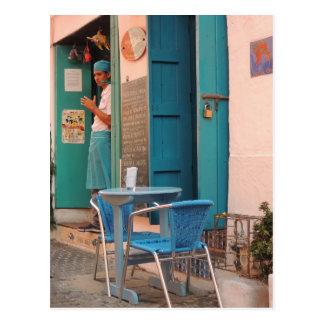 Sidewalk Fish Cafe in Cartagena Postcard