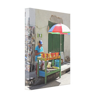 Sidewalk Fruit Vendor in Cartagena Colombia Canvas Print