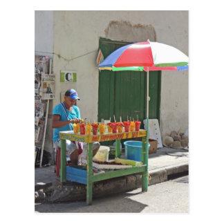 Sidewalk Fruit Vendor in Cartagena Colombia Postcard