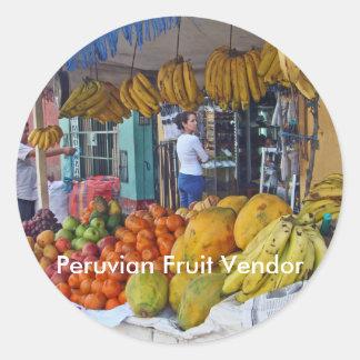 Sidewalk Fruit Vendor in Peru Classic Round Sticker