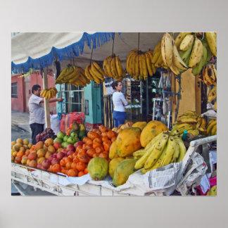 Sidewalk Fruit Vendor Poster