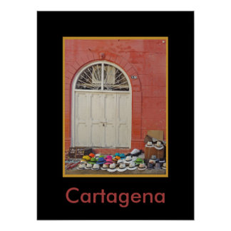Sidewalk Hat Store - Cartagena Colombia Poster
