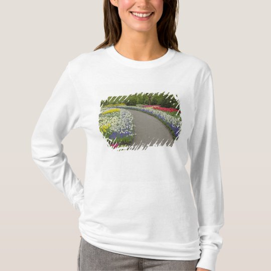 Sidewalk pathway through tulips and daffodils, 2 T-Shirt