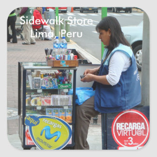 Sidewalk Store in Lima Peru Square Sticker