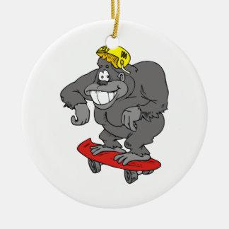 sidewalk surfin gorilla ceramic ornament