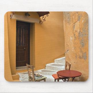 Sidewalk table setting, Chania, Crete, Greece Mouse Pad