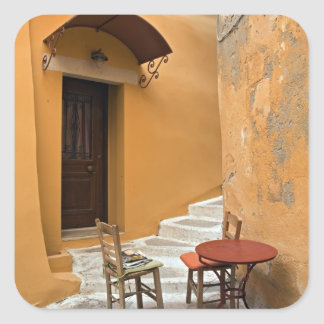 Sidewalk table setting, Chania, Crete, Greece Square Sticker