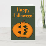 [ Thumbnail: Sideways Face Halloween Jack-O'-Lantern Pumpkin Card ]