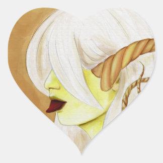 Sidhe de cuernos pegatina en forma de corazón