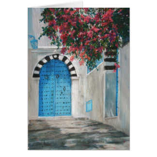 Sidi Bou Blue Door Boganvila Card