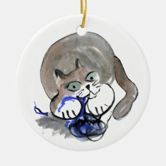 Sidney Gnaws on Blue Yarn Ceramic Ornament