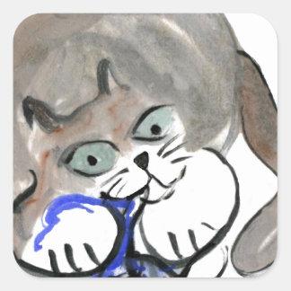 Sidney roe en el hilado azul pegatina cuadrada