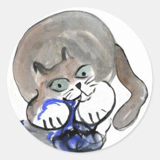 Sidney roe en el hilado azul pegatina redonda