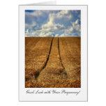 Sido y suerte ida del campo de trigo buena con felicitaciones