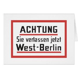 Sie verlassen jetzt West-Berlin, Germany Sign Card