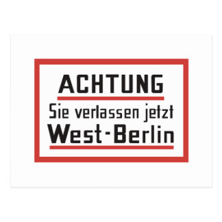 Sie verlassen jetzt West-Berlin, Germany Sign Postcard