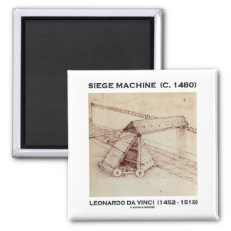 Siege Machine (C. 1480) Leonardo da Vinci 2 Inch Square Magnet