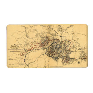 Siege of Atlanta Civil War Map July - August 1864 Label