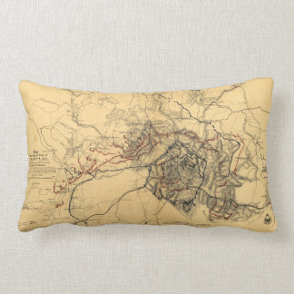 Siege of Atlanta Civil War Map July - August 1864 Lumbar Pillow