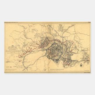 Siege of Atlanta Civil War Map July - August 1864 Rectangular Sticker