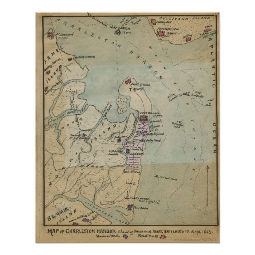 Siege Of Charleston Map Poster  Zazzle