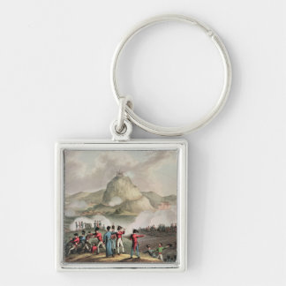 Siege of San Sebastian,  engraved by Thomas Silver-Colored Square Keychain