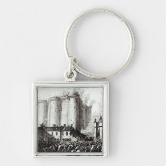 Siege of the Bastille, 14th July 1789 Silver-Colored Square Keychain