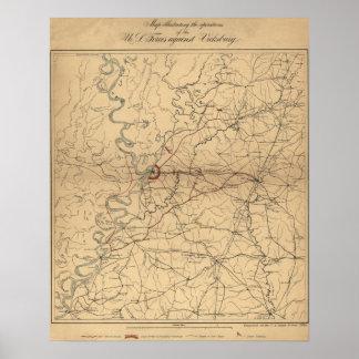 Siege of Vicksburg - Civil War Panoramic Map Poster