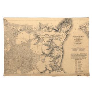 Siege of Yorktown Virginia Civil War Map (1862) Cloth Placemat