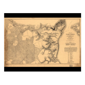 Siege of Yorktown Virginia Civil War Map (1862) Postcard