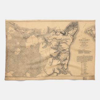 Siege of Yorktown Virginia Civil War Map (1862) Towels
