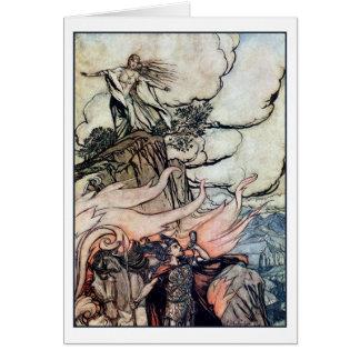 Siegfried leaves Brünnhilde Greeting Cards