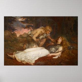 Siegfried y Brunilda del mayordomo de Charles Erne Póster
