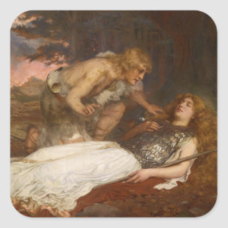 Siegfried y Brunilda del mayordomo de Charles Pegatina Cuadrada