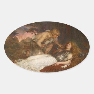 Siegfried y Brunilda del mayordomo de Charles Pegatina Ovalada