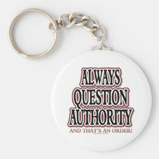 Siempre autoridad de la pregunta llavero personalizado