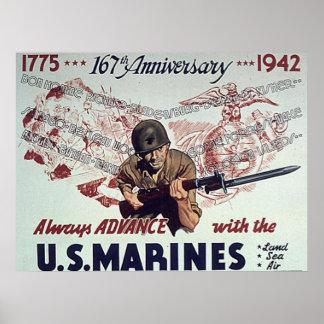 Siempre avance con los infantes de marina de los E Poster