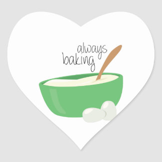 Siempre cociendo pegatina en forma de corazón