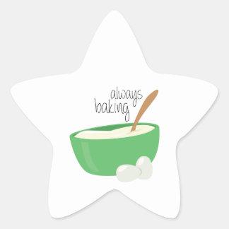 Siempre cociendo pegatina en forma de estrella