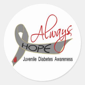 Siempre diabetes juvenil de la esperanza pegatina redonda