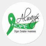 Siempre donación de órganos de la esperanza pegatina redonda