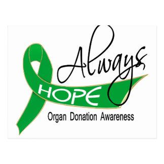 Siempre donación de órganos de la esperanza postales