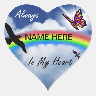 Siempre en mi corazón pegatina en forma de corazón