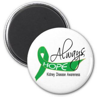 Siempre enfermedad de riñón de la esperanza imán redondo 5 cm