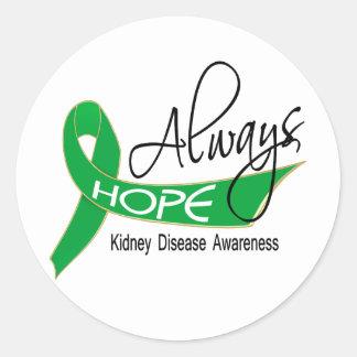 Siempre enfermedad de riñón de la esperanza pegatina redonda