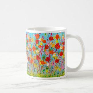 siempre flores en el jardín taza de café